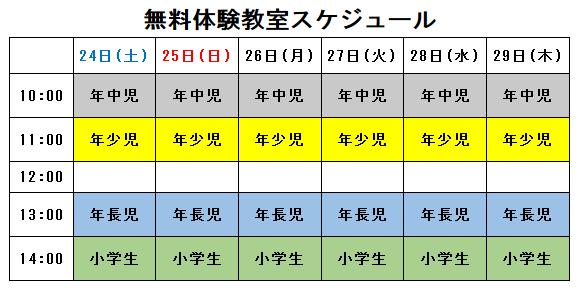 関西大学カイザーズクラブ体操教室無料体験スケジュール