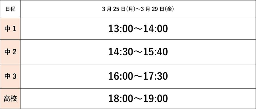 千里山English school 春期講習タイムテーブル