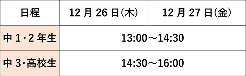 千里山English School日程と時間